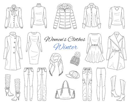 Collection de vêtements pour femmes. Tenue d'hiver. Illustration de croquis de vecteur.