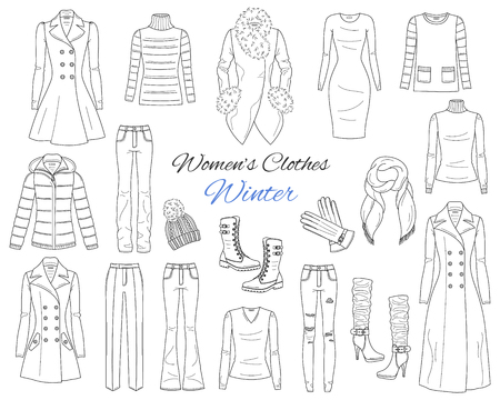 Women s clothes collection. Winter outfit. Vector sketch illustration.