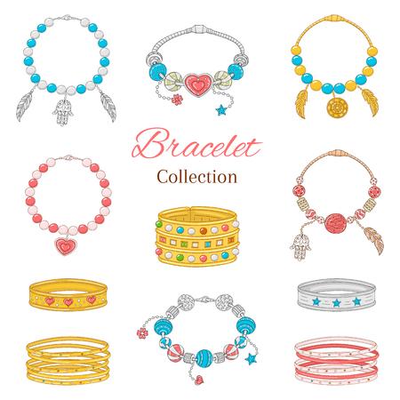 Kolekcja modnych damskich bransoletek pandora, ilustracji wektorowych