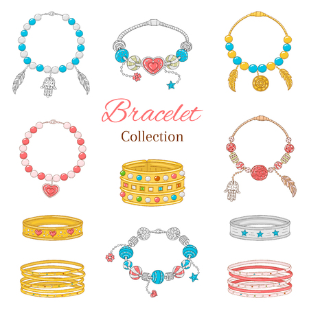 Womens fashionable pandora bracelets collection, vector illustration