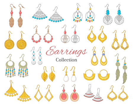 Fashionable earrings collection, isolated on white background, vector illustration.