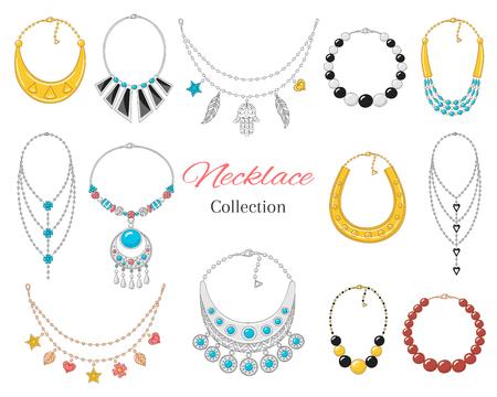 Collezione di collane alla moda da donna, isolata su sfondo whote, illustrazione vettoriale.
