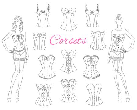 Collection de corsets avec de beaux mannequins, illustration vectorielle.