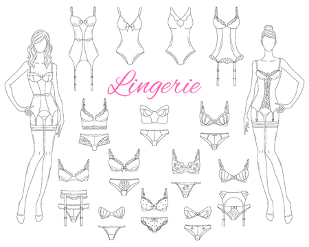 Female lingerie collection with beautiful fashion models, vector sketch illustration. Çizim