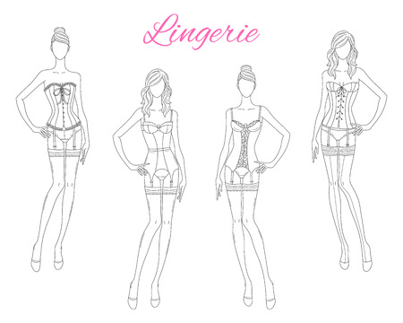 Beautiful fashion models in lace lingerie, vector illustration isolated on white background. 版權商用圖片 - 120653029