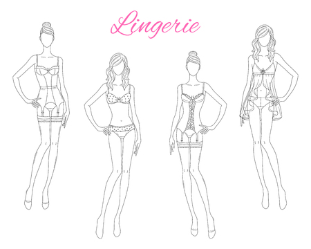 Beautiful fashion models in lace lingerie, vector illustration isolated on white background. 向量圖像