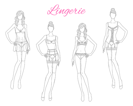 Beautiful fashion models in lace lingerie, vector illustration isolated on white background. Çizim