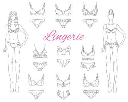 Collection de lingerie féminine avec de beaux mannequins, illustration vectorielle de croquis. Vecteurs