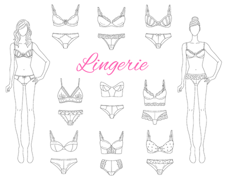 Female lingerie collection with beautiful fashion models, vector sketch illustration. 向量圖像