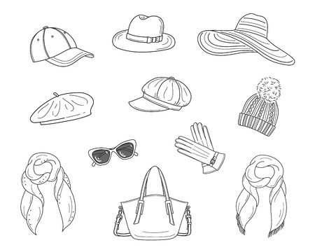 Hats collection, vector sketch illustration.
