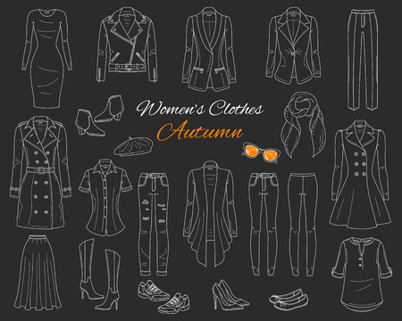 Female fashion set. Womens clothes collection. Autumn outfit: trench coat, leather jacket, cardigan, dress, jeans, pants, blazer, boots, flats and sneakers vector illustration isolated on chalkboard.