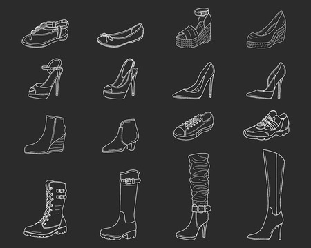 Women shoes collection. Various types of female shoes boots, stilettos, wedgies, sandals, sneakers, flats, vector sketch illustration, isolated on chalkboard background Çizim