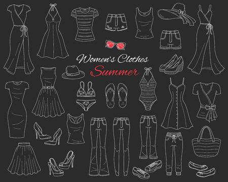Female fashion set. Women cothes collection. Summer outfit dresses, skinny jeans, denim shorts, tops, beach hat, swimwear, sunglasses, sandals and flip flops, vector sketch illustration isolated on chalkboard.