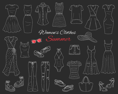 Female fashion set. Women clothes collection. Summer outfit dresses, ripped skinny jeans, shorts, tops, beach hat, swimwear, sunglasses, sandals and sneakers vector sketch illustration isolated on chalkboard.