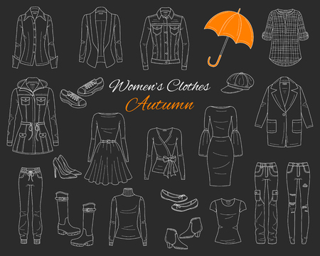 Female fashion set. Womens clothes collection. Autumn outfit: jeans jacket, parka coat, cardigan, dress, ripped jeans, blazer, blouse, boots and sneakers vector sketch illustration on chalkboard.