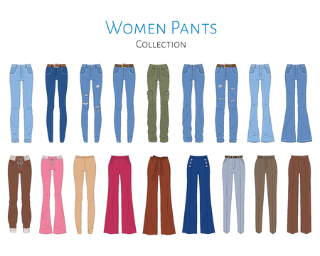 Womens pants collection, vector  illustration. 版權商用圖片 - 120653059