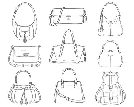 Colección de bolsos de moda para mujer, ilustración de dibujo vectorial.