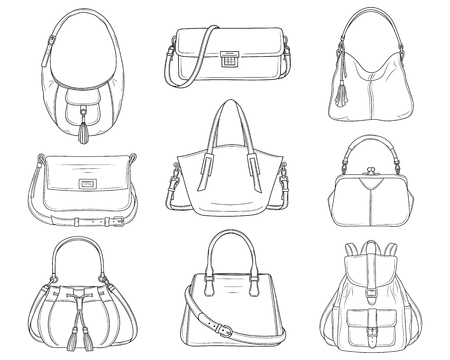 Women fashion handbags collection, vector sketch illustration. 版權商用圖片 - 120653060
