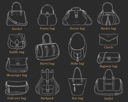 Women fashion handbags collection, vector sketch illustration. Different types of stylish bags, satchel, hobo, doctor, clutch, duffel, baguette, tote backpack isolated on chalkboard background Çizim
