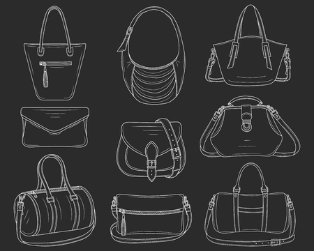 Women fashion handbags collection, vector sketch illustration. Different types of stylish bags, satchel, saddle, hobo, doctor, clutch, duffel, tote,barrel isolated on a chalkboard background 版權商用圖片 - 111150002