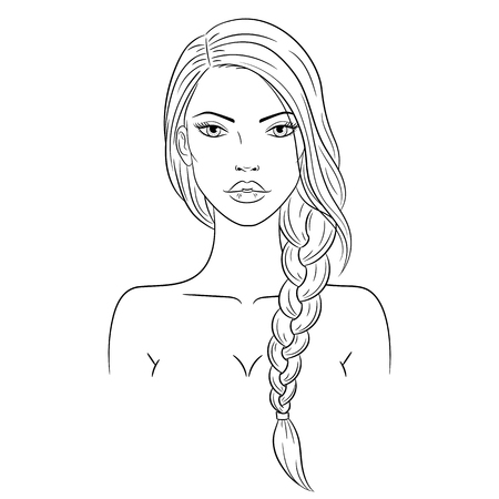 Vector illustration of a beautiful young woman with long hair 版權商用圖片 - 120653231