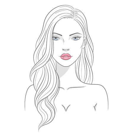 Vector illustration of a beautiful young woman with long hair  イラスト・ベクター素材