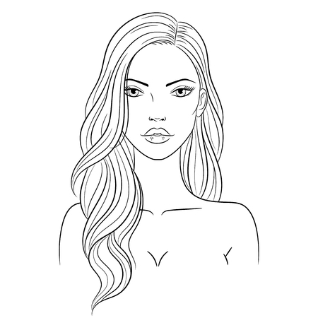Vector illustration of a beautiful young woman with long hair 向量圖像