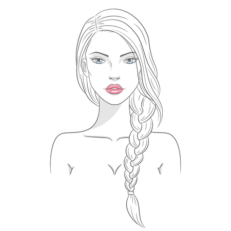Vector illustration of a beautiful young woman with long hair Çizim