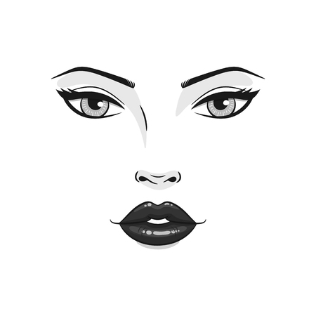 Beautiful young woman face close up, vector illustration. 向量圖像
