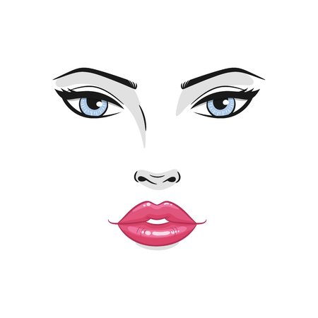 Beautiful young woman face close up, vector illustration. Çizim