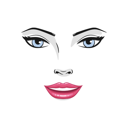Beautiful young woman smiling face close up, vector illustration.