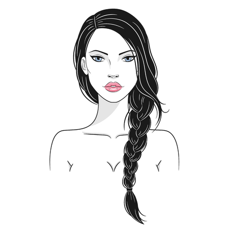Vector illustration of a beautiful young woman with long hair 版權商用圖片 - 120653239