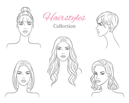 Beautiful young women with fashion trendy hairstyles. vector sketch illustration. 向量圖像