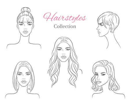 Hermosas mujeres jóvenes con peinados de moda. ilustración de dibujo vectorial.