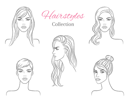 Beautiful young women with fashion trendy hairstyles. vector sketch illustration. Illustration