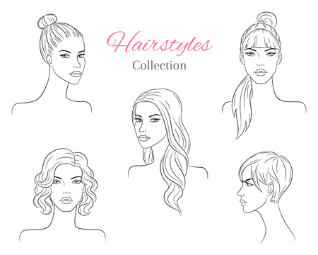 Beautiful young women with fashion trendy hairstyles. vector sketch illustration. 版權商用圖片 - 120653169