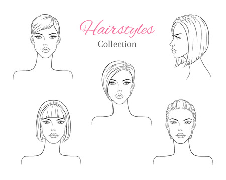 Beautiful young women with fashion trendy hairstyles. vector sketch illustration. Çizim