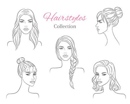 Belles jeunes femmes avec des coiffures à la mode. illustration de croquis de vecteur.