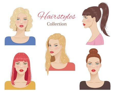 Belles jeunes femmes avec des coiffures à la mode. illustration vectorielle.