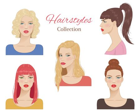 Schöne junge Frauen mit modischen Frisuren. Vektor-Illustration.