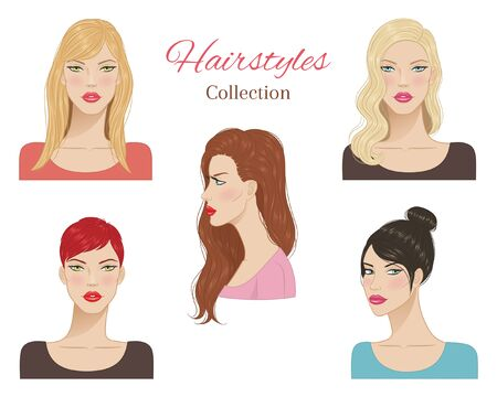 Beautiful young women with fashion trendy hairstyles. vector illustration.