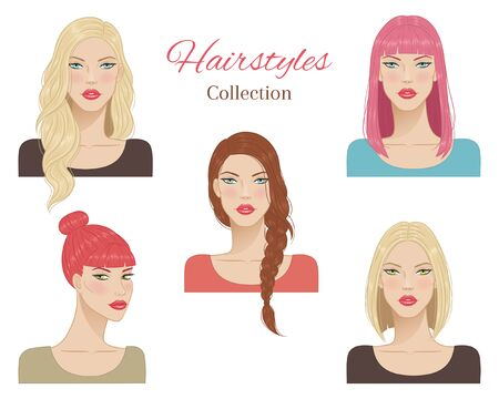 Beautiful young women with fashion trendy hairstyles. vector illustration. Vetores