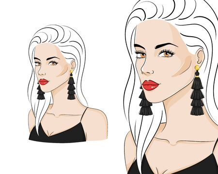 Beautiful woman wearing stylish jewelry, vector sketch illustration. Fashion model with black tassel earrings. Иллюстрация