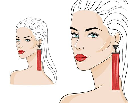 Beautiful woman wearing stylish jewelry, vector sketch illustration. Fashion model with red long tassel earrings. Иллюстрация