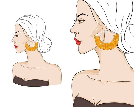 Beautiful woman in profile wearing stylish boho jewelry, vector sketch illustration. Fashion model with tassel earrings
