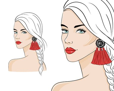 Beautiful woman wearing stylish jewelry, vector sketch illustration. Fashion model with red long tassel earrings. 向量圖像
