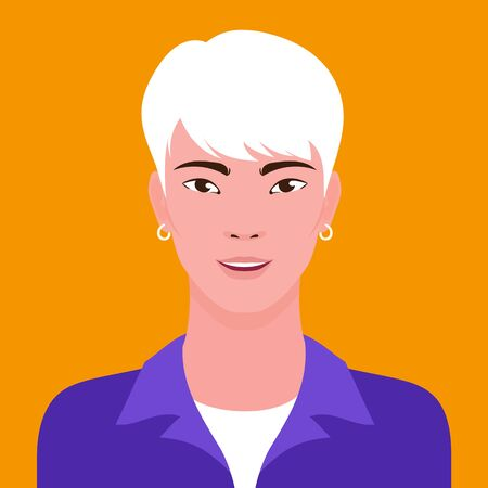 Portrait of a young Asian hipster smiling man, vector flat illustration. Asian handsome guy avatar.