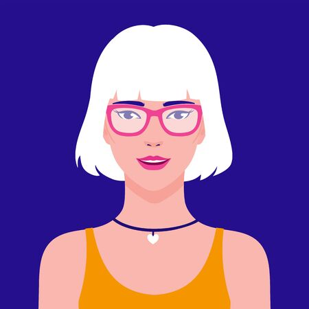 Portrait of a young beautiful, stylish Asian smiling woman in eyeglasses, vector flat illustration. Asian hipster girl avatar.