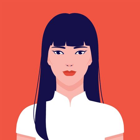 china gogo2 boloPortrait of a young beautiful, AsiPortrait of a young beautiful, Asian woman, vector flat illustration. Asian cute girl avatar.