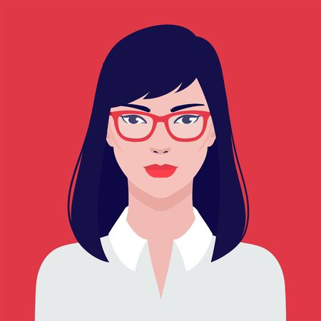 Portrait of a beautiful Asian student girl in eyeglasses, vector flat illustration. Asian young successful woman avatar. Ilustrace